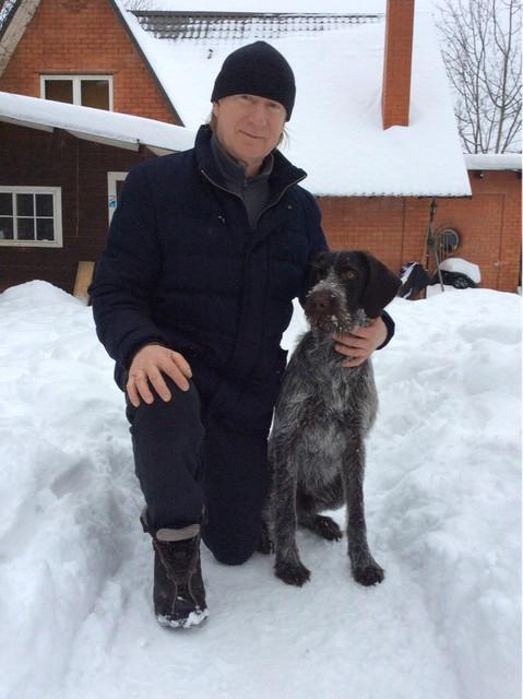 Venäjän poika Davidoff isäntänsä kanssa tammikuussa 2015