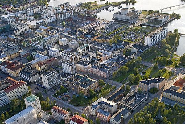 Oulun keskustaa ilmakuvassa