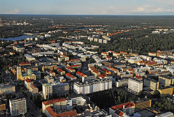 Oulun keskustaa ilmasta