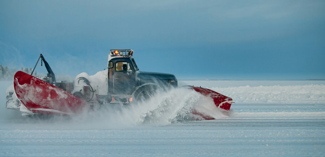 Iceroad with a plow truck