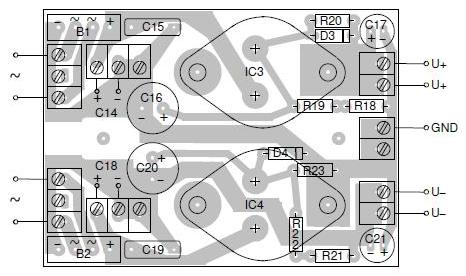 Power supply layout for the transconductance amp