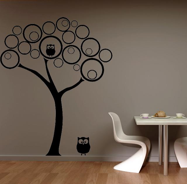 Pöllöt puussa  sisustustarra  Sisustustarrat ja seinätarrat  Dr Decor