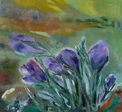 Crocuses, 2011, oil on canvas, 73 x 70 cm