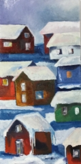 Silent village, 2018 oil on canvas 40 x 80 cm