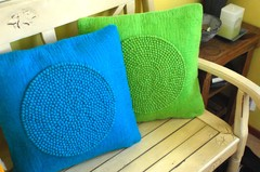 Bright coloured cushion covers