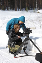 Director Vesa Saarinen and videographer Tomi Hautala looking for a suitable angle in the woods of Kontioranta garrison.