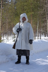 Mika Katainen, who plays Simo Häyhä in the documentary, in his full equipment.