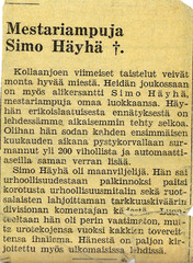 Announcement of Simo Häyhä's fall.