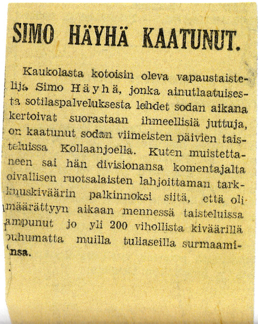 Casualty announcement Simo Häyhä from the year 1939