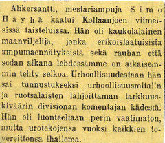 Master shooter Häyhä has passed away.