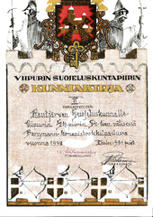 Diploma, that the five-man team of Rautjärvi civil guard earned in Bergmann-submachine gun shooting competition. 2nd prize.