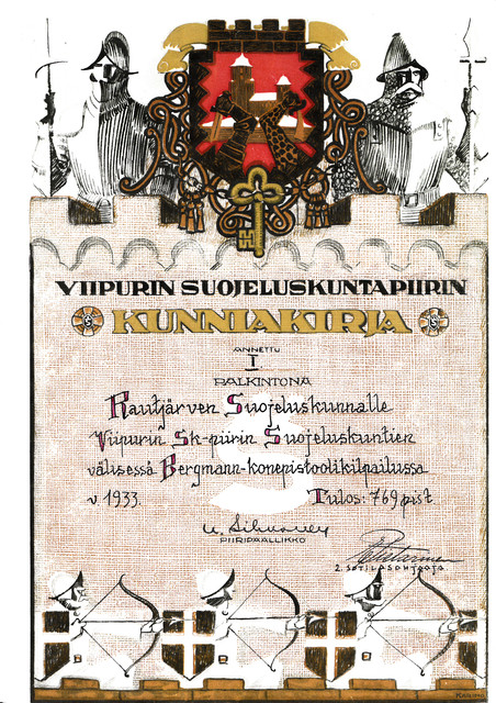 Diploma, that the five-man team of Rautjärvi civil guard earned in Bergmann-submachine gun shooting competition. 1st prize.