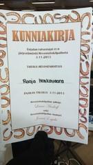 Hevostaitokilpailuissa jaettiin kunniakirjoja.