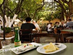 rethymnon_restaurant_lemonokipos._as_starters_tzatziki_and_saganaki_fried_hard_cretan_cheese.