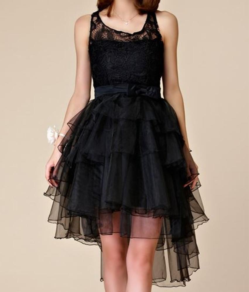 Musta tyllinen high low juhlamekko | Naisten vaatteet ja