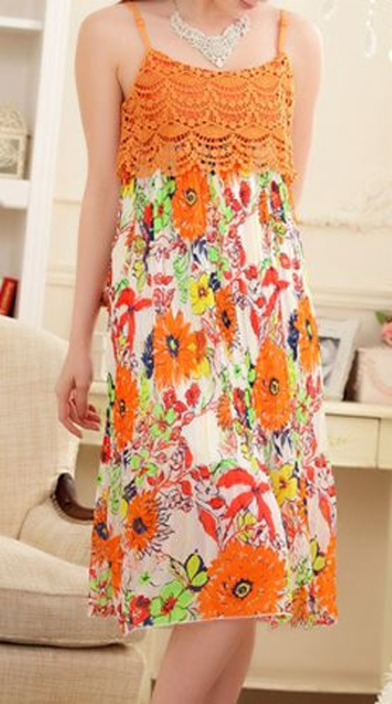 oranssi pitkä mekko  c2e3ff49c5