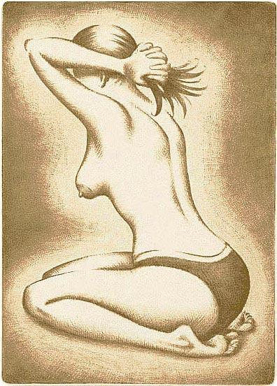 Nainen pikkuhousuissa, kuivaneula 14,5 x 20,5 cm, vedoksia 8 kpl. Hinta 150 €