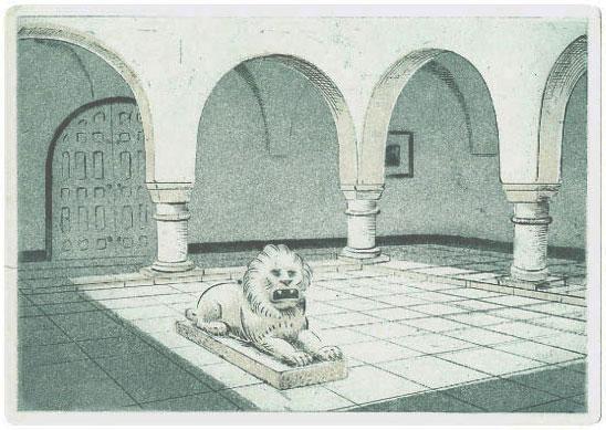Tunisialainen pylväikkö, etsaus 21 x 15 cm, vedoksia 20 kpl. Hinta 150 €