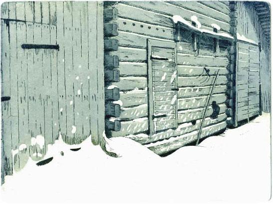 Menneen talven lumia, etsaus 21 x 16 cm, vedoksia 12 kpl. Hinta 150 €