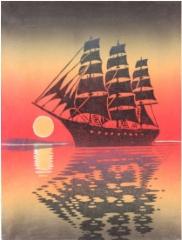 Muistojen meri, linopiirros 21 x 29, vedoksia 12 kpl. Hinta 150 €