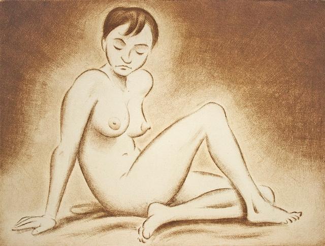 Istuva alaston, kuivaneula ja mezzotinto 20,5 x 30 cm, vedoksia 10 kpl. Hinta 180 €