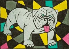 Bulldoggi, linoleikkaus 24 x 17 cm. Hinta 120 €
