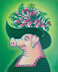 Kuningatar Flora, öljy, 46 x 55 cm. Hinta 600 €