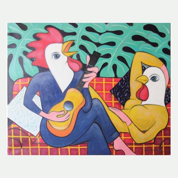 Musisointia Matissen sävelin, öljy, 105 x 80 cm. Hinta 700 €