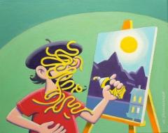 Sutinen aloittaa taidekoulussa, akryyli, 41x33 cm. Hinta 450 €