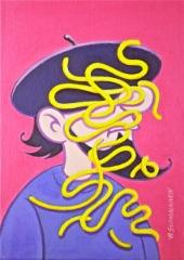 Taiteilija Sutinen työpäivän jälkeen, akryyli 33x23,5 cm. Hinta 280 €