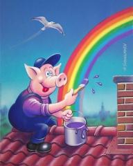 Sateenkaaren maalari, guassi ja digimaalaus, 40x50 cm.