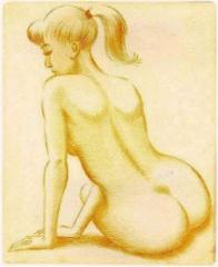 Poninhäntäinen nainen, kuivaneula 14,5 x 180 cm. Hinta 120 € €