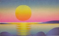 Auringonlasku merellä, linopiirros 42 x 26 cm, vedoksia 6 kpl. Hinta 180 €