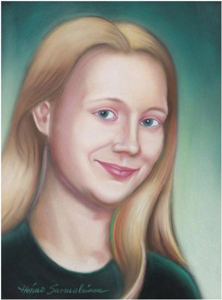 Lotta, muotokuvamaalaus, pastelli, 30 x 40 cm