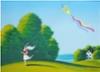 Tyttö ja leija, guassimaalaus 40 x 29 cm. Hinta 300 €