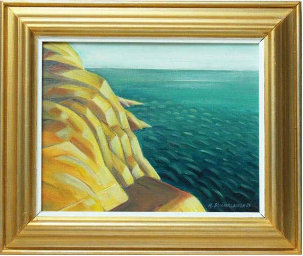 Rantakallioita Turun saaristossa, öljyväri 31 x 26 cm. Hinta 200 €