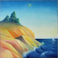Ilta Turun saaristossa, öljyväri 65 x 65 cm. Hinta 650 €