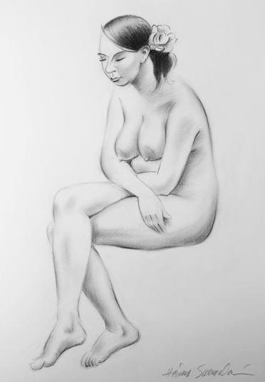 Istuva alaston, grafiittikynä 50 x 70 cm.