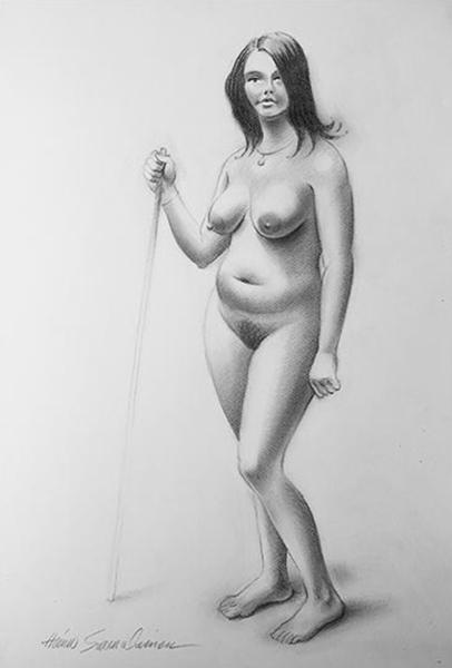 Seisova alaston, grafiittikynä 50 x 70 cm.