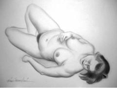 Lepäävä alaston, grafiittikynä 70 x 50 cm.