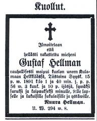 gustafin kuolinilmoitus 16.9.1891