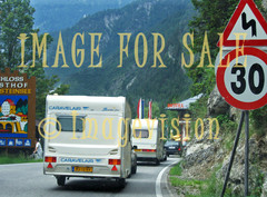 for sale caravans driving on mountains in austria