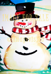 for sale artistic joyful snowman with scarf and hat