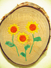 for sale sunflowers painted in birch wood