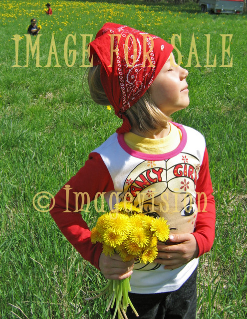 for sale girl with yellow flowers facing sun