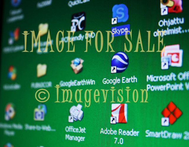 for sale desktop screen with many icons