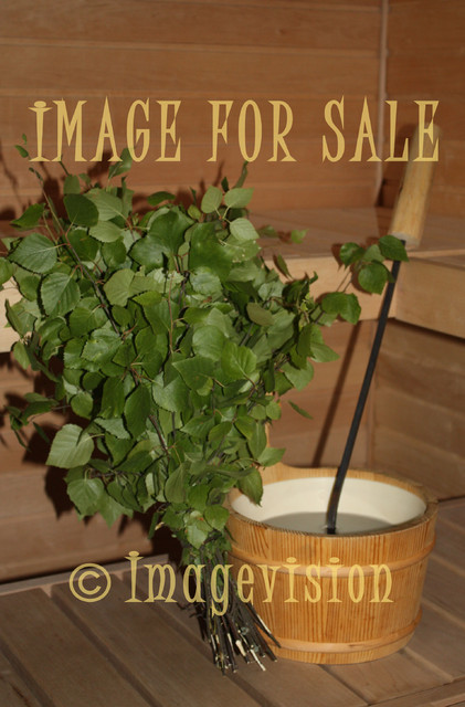 for sale traditional sauna bucket and birch switch