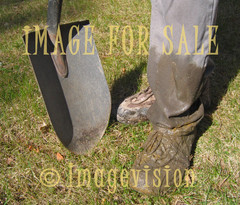 for sale dirty shoes and shovel