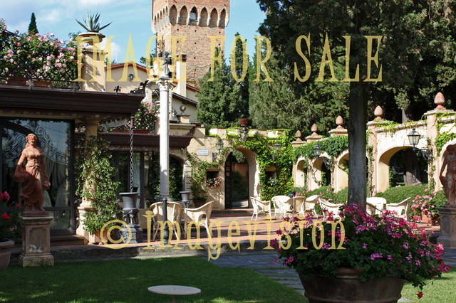 for sale flourishing italian garden with statues