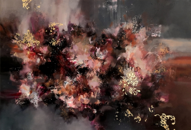Passion rendezvous - 2020 - Acrylic and oil on canvas, gold leaf - 80x116cm